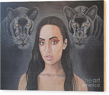 Girl And Panther Wood Print by Jeepee Aero