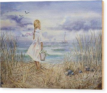 Girl At The Ocean Wood Print