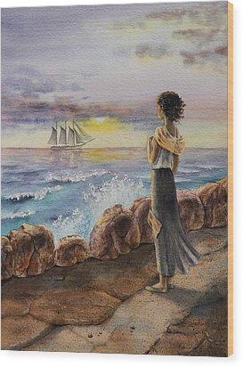 Girl And The Ocean Sailing Ship Wood Print by Irina Sztukowski