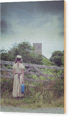 Girl At Gate Wood Print by Joana Kruse