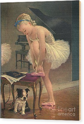 Girl Ballet Dancer Ties Her Slipper With Boston Terrier Dog Wood Print by Pierponit Bay Archives