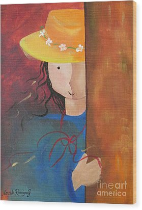 Wood Print featuring the painting Girl Behind The Door by Nereida Rodriguez