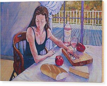 Girl Having Lunch At Montlake Wood Print