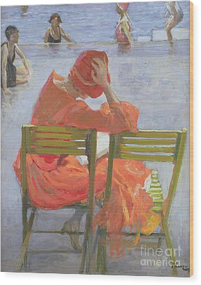 Girl In A Red Dress Reading By A Swimming Pool Wood Print by Sir John Lavery