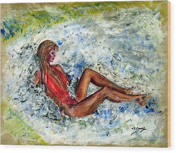 Girl In A Red Swimsuit Wood Print by Tom Conway