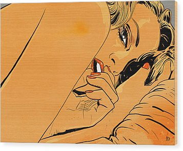 Girl In Bed 1 Wood Print