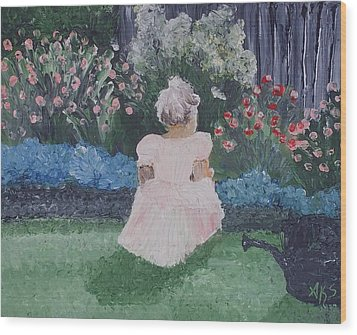 Wood Print featuring the painting Girl In Garden by Angela Stout