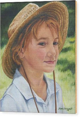 Girl In Straw Hat Wood Print