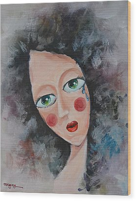 Girl In Tear Wood Print by Mikyong Rodgers