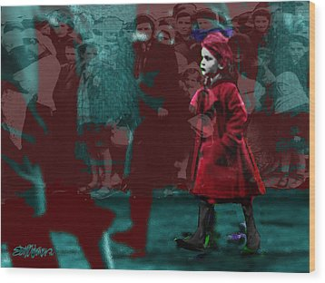 Girl In The Blood-stained Coat Wood Print
