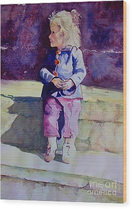 Girl In The Blue Jacket Wood Print by Janet Felts