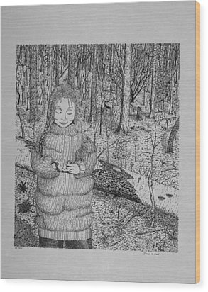 Wood Print featuring the drawing Girl In The Forest by Daniel Reed
