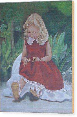 Wood Print featuring the painting Girl In The Garden by Sharon Schultz