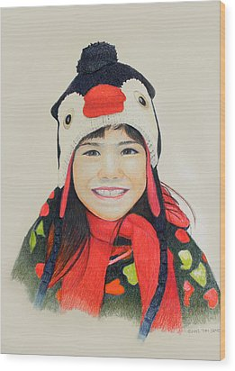 Girl In The Penguin Cap Wood Print by Tim Ernst