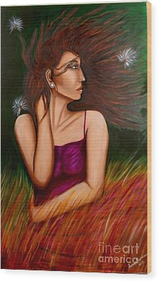 Girl In Wind Wood Print