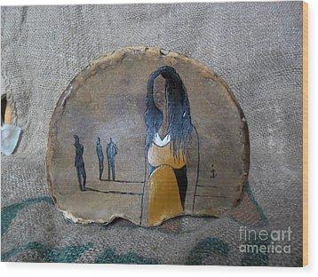 Girl In Yellow Wood Print by Ildiko Decsei