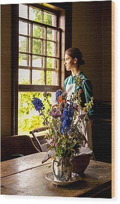 Girl Looking Through An Open Window  Wood Print by Levin Rodriguez