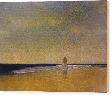 Girl On A Beach Wood Print