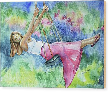 Girl On A Swing  Wood Print by Trudi Doyle