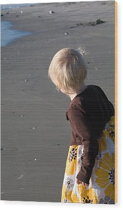 Wood Print featuring the photograph Girl On Beach II by Greg Graham