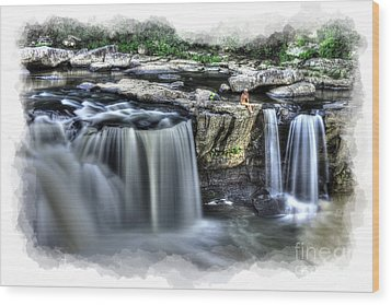 Girl On Rock At Falls Wood Print by Dan Friend