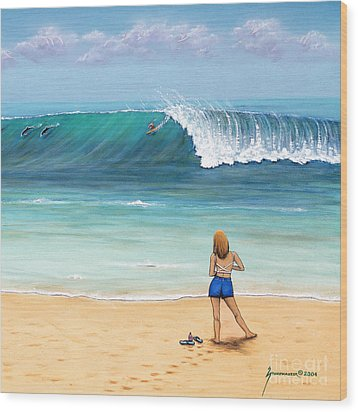 Girl On Surfer Beach Wood Print by Jerome Stumphauzer