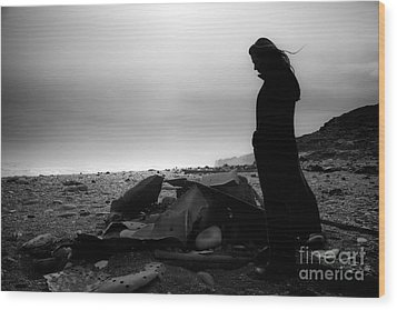 Wood Print featuring the photograph Girl On The Beach by Gunnar Orn Arnason