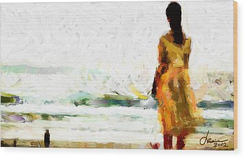 Girl On The Beach Tnm Wood Print by Vincent DiNovici