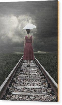 Girl On Tracks Wood Print by Joana Kruse