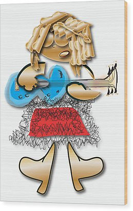 Wood Print featuring the digital art Girl Rocker 6 String Guitar by Marvin Blaine