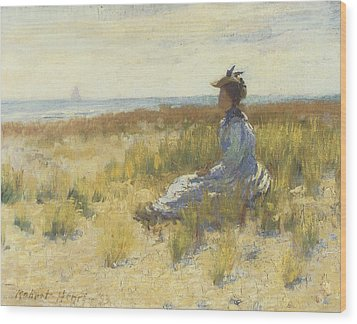 Girl Seated By The Sea Wood Print by Robert Henri