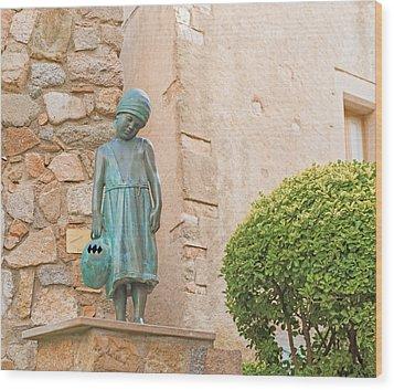 Girl Statue In Tossa De Mar Medievaltown In Catalonia Spain Wood Print
