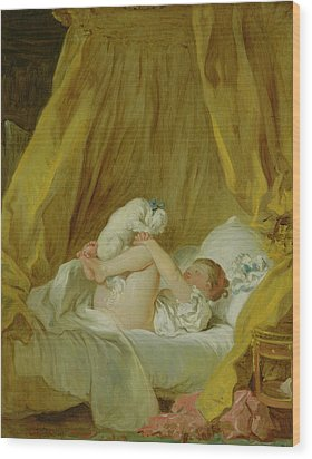Girl With A Dog Wood Print by Jean Honore Fragonard