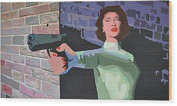 Girl With A Gun Wood Print by Geoff Greene