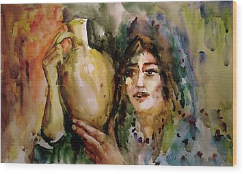 Girl With A Jug. Wood Print by Faruk Koksal