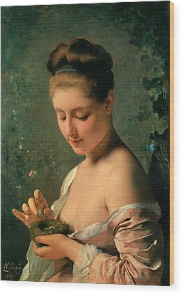 Girl With A Nest Wood Print by Charles Chaplin