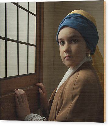 Girl With A Pearl Earring At A Window Wood Print by Levin Rodriguez