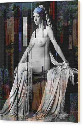 Girl With A Pearl Earing Pregnant Nude Wood Print by Karine Percheron-Daniels