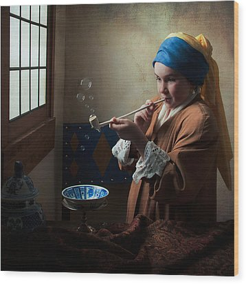 Girl With A Pearl Earring Blowing Bubbles Wood Print by Levin Rodriguez
