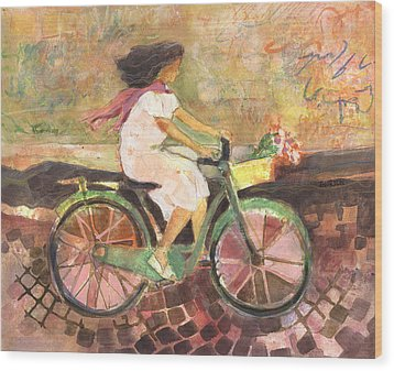 Girl With A Pink Scarf Wood Print by Jen Norton