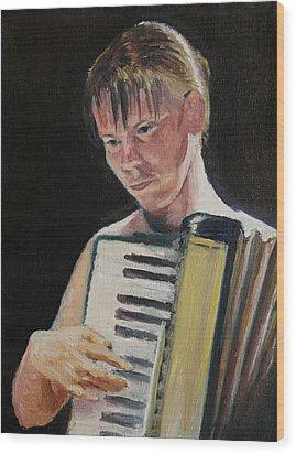 Girl With Accordion Wood Print