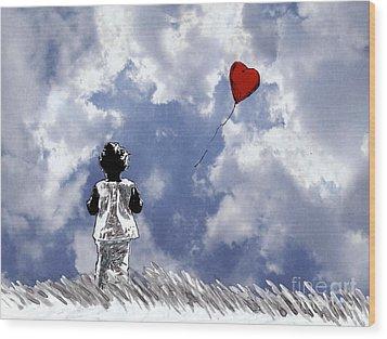 Girl With Balloon 2 Wood Print
