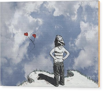 Girl With Balloons 4 Wood Print by Jason Tricktop Matthews