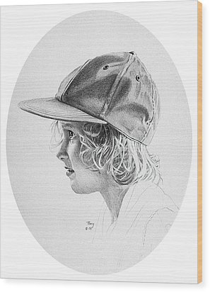 Girl With Baseball Cap Wood Print by Robert Tracy