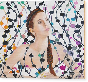 Girl With Beads Wood Print by Denise Deiloh