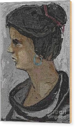Girl With Blue Earrings Wood Print by Pemaro