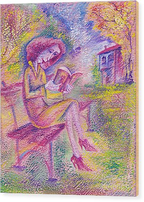 Girl With Book Wood Print by Milen Litchkov