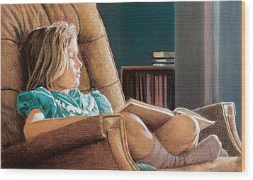 Girl With Book Wood Print by Robert Tracy