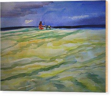 Girl With Dog On The Beach Wood Print by Julianne Felton