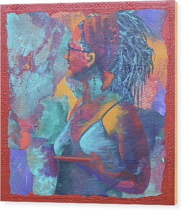 Wood Print featuring the painting Girl With Dreads by Nancy Jolley